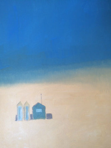 Huts, Sand and Sea by Nick Kelly (Acrylic on Canvas)
