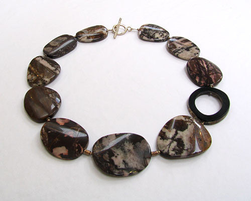 Lombard Street Gallery Margate Outback Jasper Flat Disc and Horn Ring Necklace by Tessa Tyldesley
