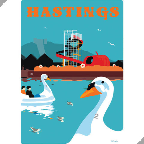 Hastings Swan Pedalos by Andy Tuohy (Limited Edition Print)
