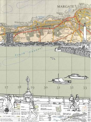 The Bay (on 1960's Ordnance Survey Map) by Chris Snow (Limited Edition Print)