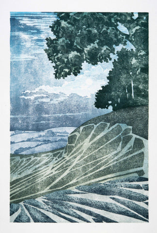 Twelve Views: Chalk Plough, Moonlight by Laura Boswell (Limited Edition Japanese Waterbased Woodblock Print)