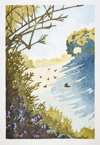 Twelve Views: Early Morning, Spring by Laura Boswell (Limited Edition Japanese Waterbased Woodblock Print)