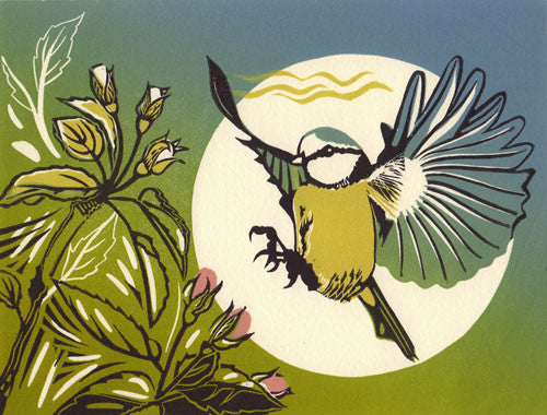 Lombard Street Gallery Margate Pam Grimmond Blue Tit Original hand printed limited edition linocut