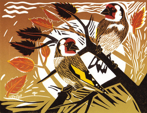 Lombard Street Gallery Margate Pam Grimmond Goldfinches Original hand printed limited edition linocut