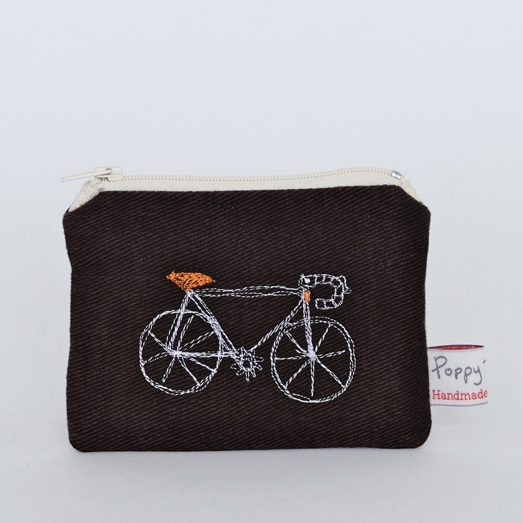Bicycle small zip coin purse by Poppy Treffry Lombard Street Gallery Margate