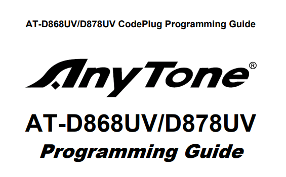 AnyTone 868 / 878 Programming Guide V1.33