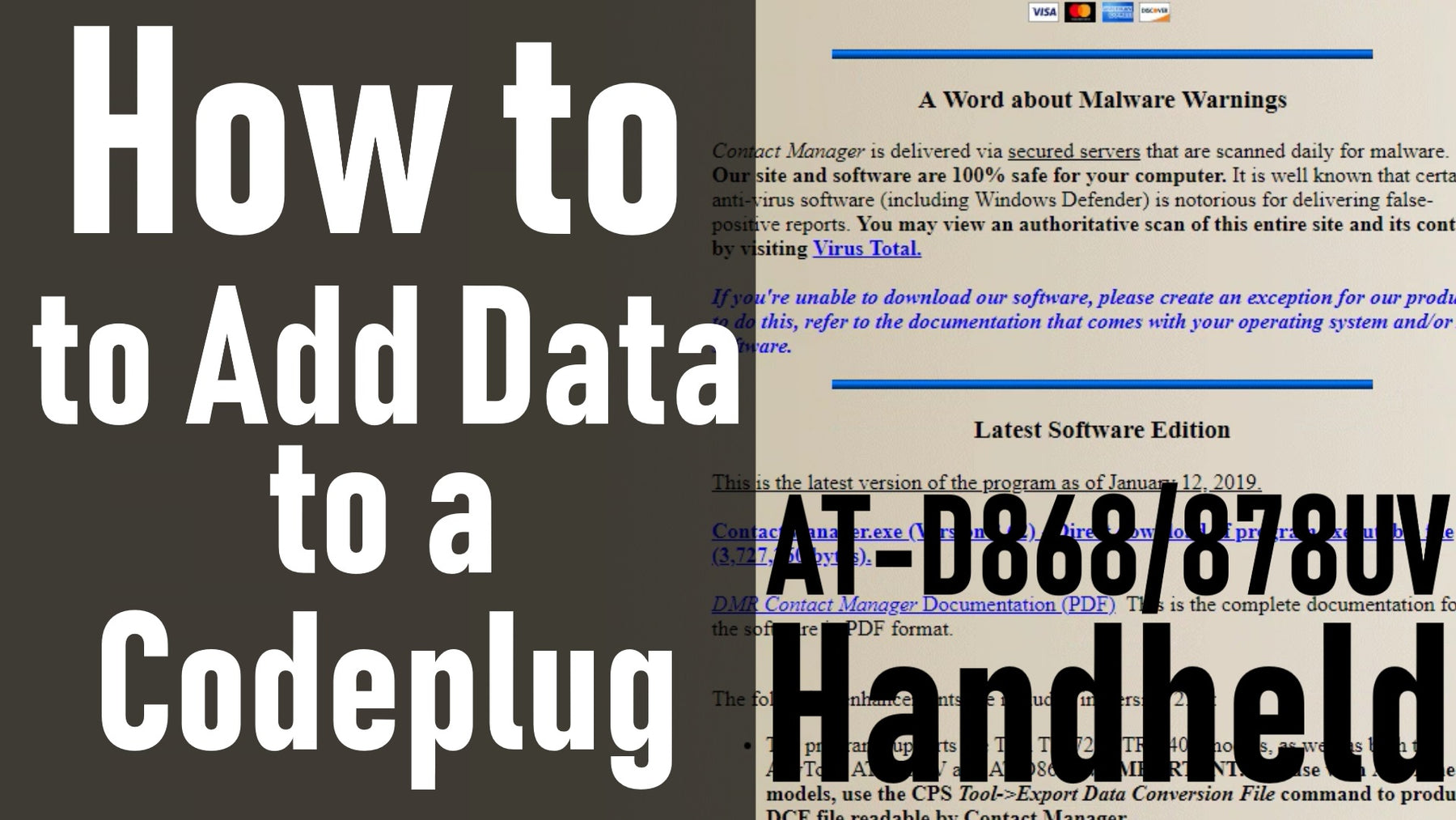How to Add Data to a Codeplug with Contact Manager AT-D868/87