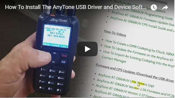 How to Install the AnyTone USB Driver and Device Software