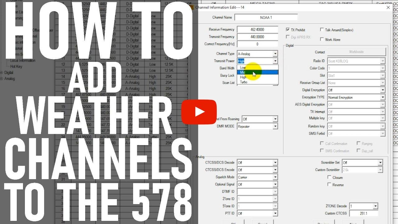 How to Add Weather Channels into the AnyTone 578 Mobile