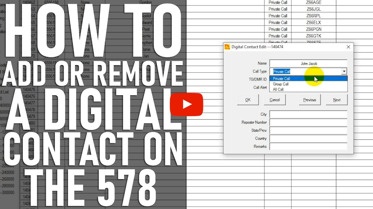 How to Add or Remove a Digital Contact for the AnyTone AT-D578
