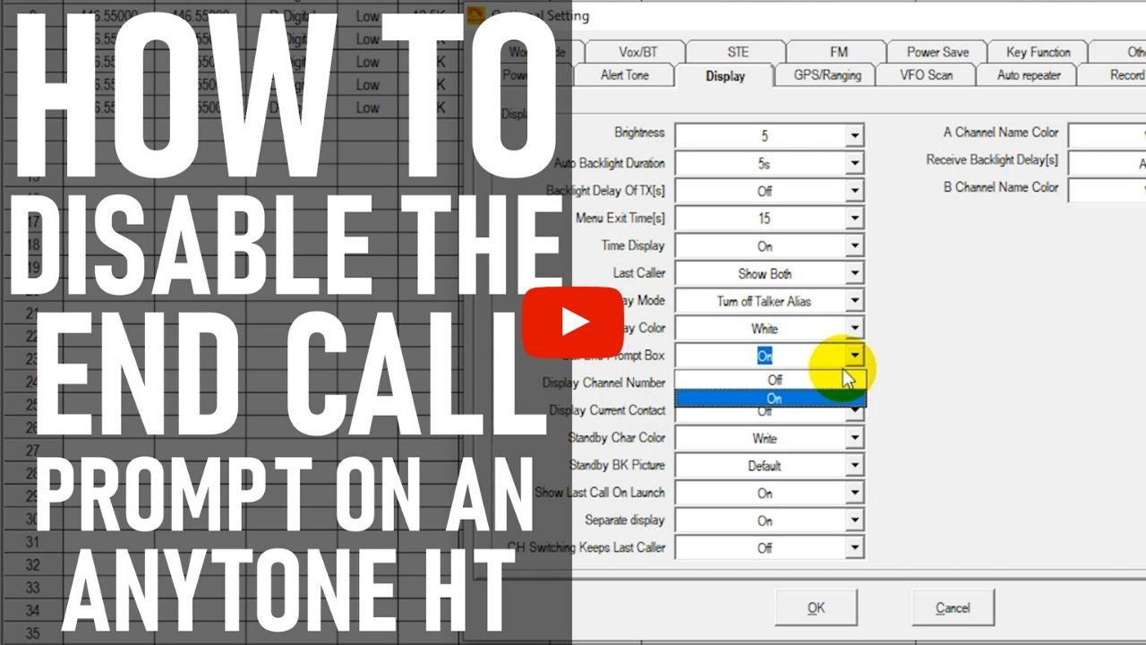 How to Disable the End Call Prompt on an AnyTone Handheld