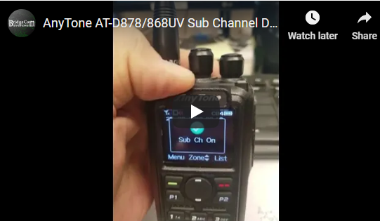 AnyTone AT-D878/868UV Sub Channel Function Demo