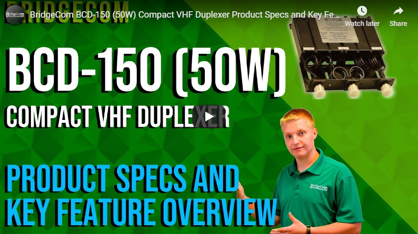 BridgeCom BCD-150 (50W) Compact VHF Duplexer Product Specs and Key Feature Overview