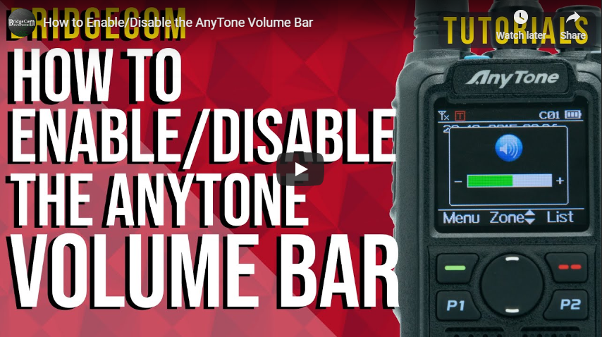 How to Enable/Disable the AnyTone Volume Bar