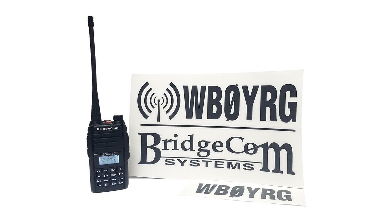 BridgeCom Systems Custom Call Sign Decal set - Black Lettering