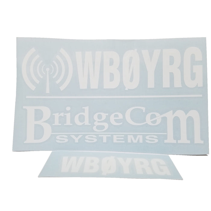 BridgeCom Systems Custom Call Sign Decals set - White Lettering