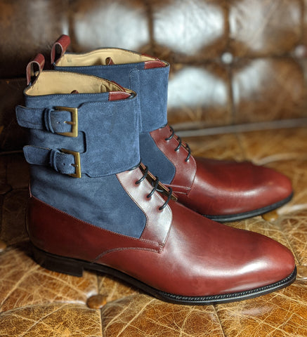 Ascot Tall Boots Made By TLB - Burgundy & Navy - UK 10/ US 11