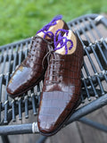 Ascot Wholecut - Chocolate Brown Alligator - Ascot Shoes