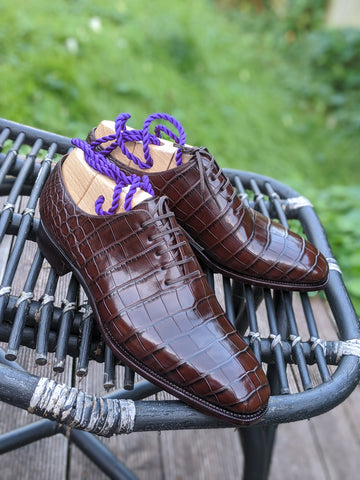 Ascot Wholecut - Chocolate Brown Alligator
