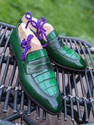 Alligator Loafer - Emerald Green