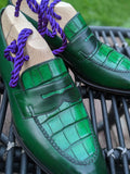 Alligator Loafer - Emerald Green - Ascot Shoes