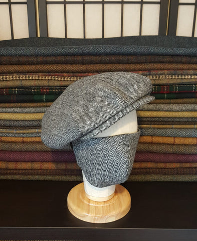 Newsboy Cap & Matching Face Mask - Light Grey Herringbone