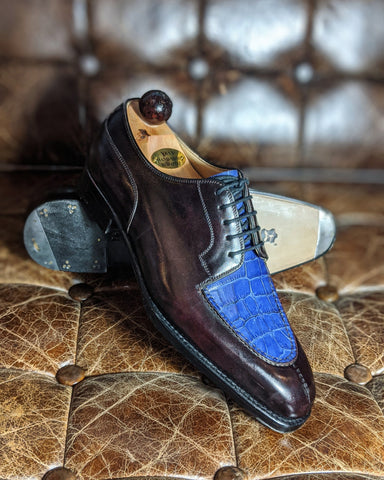 Ascot Kaan - Plum Museum Calf & Blue Alligator - 41 EU/ 7 UK/ 8 US - U last