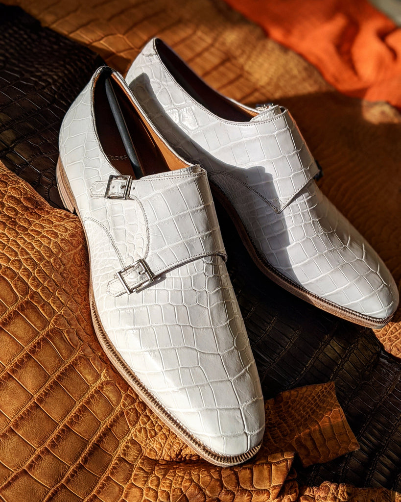 Ascot Double Monk - White Alligator - Ascot Shoes
