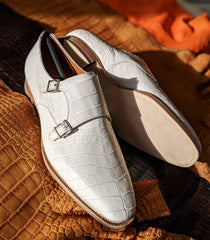 Alligator White Double Monk - Ascot Shoes