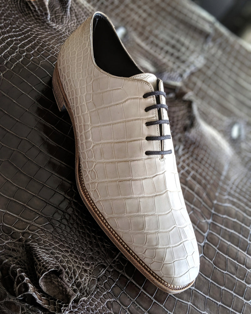 Ascot Wholecut - Pearl White Alligator - Ascot Shoes