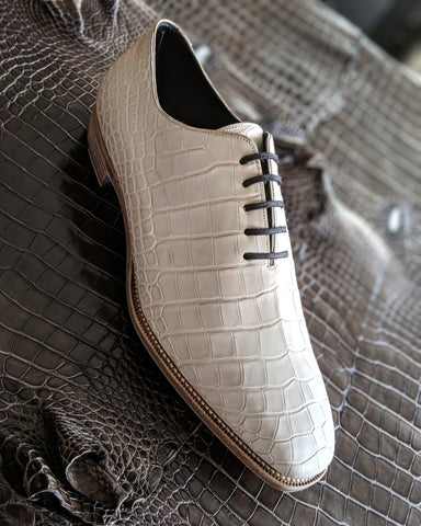 Ascot Wholecut - Pearl White Alligator