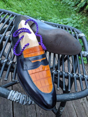 Alligator Loafer - Orange & Indigo Blue