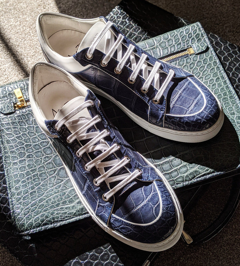 Ascot Sneakers - Blue Crocodile - Ascot Shoes