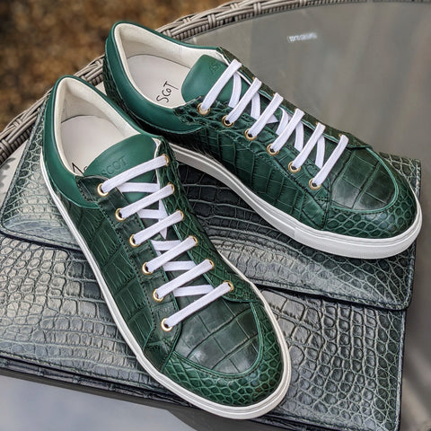 Ascot Sneakers - Green Crocodile