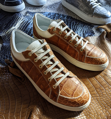 Ascot Sneakers - Tan Crocodile