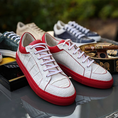 Ascot Sneakers -  White Alligator With Red Sole