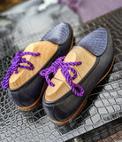 Belgian Loafer - Blue Deer Skin & Crocodile - Ascot Shoes