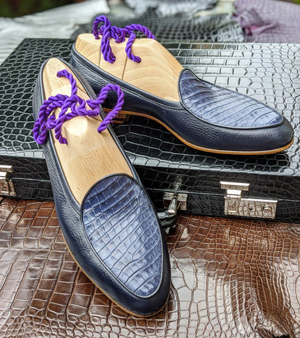 Belgian Loafer - Blue Deer Skin & Crocodile