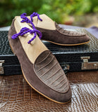 Belgian Loafer - Brown Crocodile - Ascot Shoes