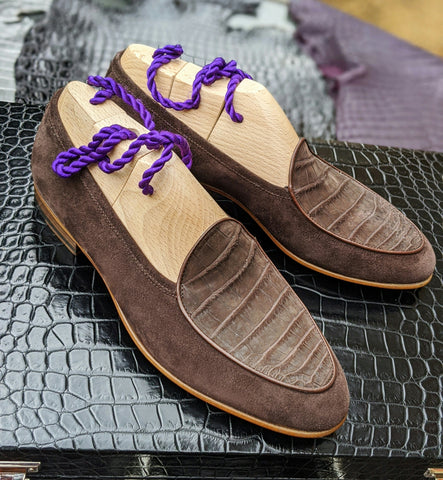 Belgian Loafer - Brown Crocodile