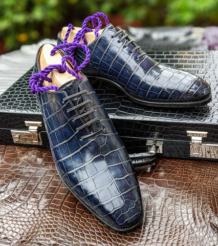 Ascot Wholecut - Blue Alligator