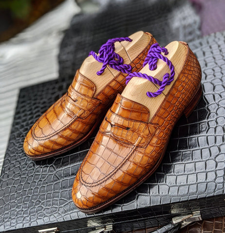 Alligator Loafer - Tan Crocodile