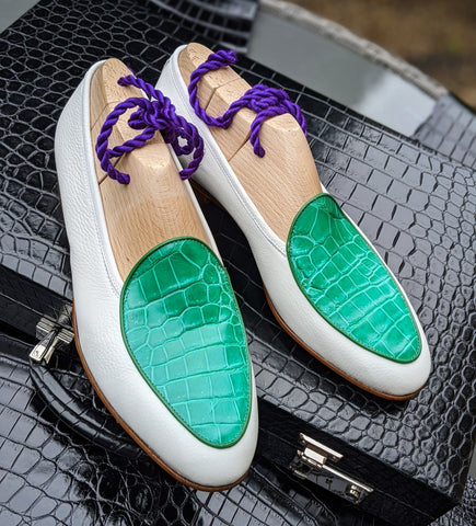 Belgian Loafer - White Deer & Bright Green Crocodile