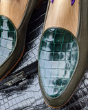 Belgian Loafer - Olive Green Deer & Green Crocodile - Ascot Shoes