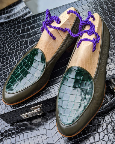 Belgian Loafer - Olive Green Deer & Green Crocodile