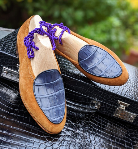 Belgian Loafer - Tan Suede & Blue Crocodile