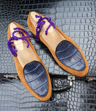 Belgian Loafer - Tan Suede & Blue Crocodile - Ascot Shoes