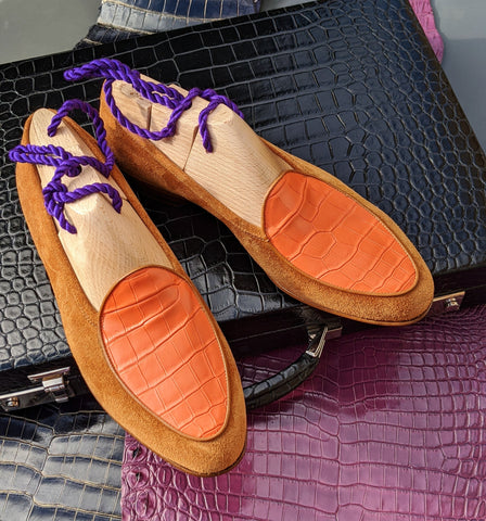Belgian Loafer - Tan Suede & Orange Crocodile