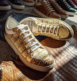 Ascot Sneakers - Gold Crocodile - Ascot Shoes