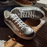 Ascot Sneakers - Silver Crocodile - Ascot Shoes